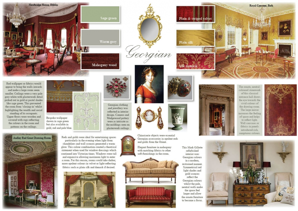 If you're looking for an authentic period feel, nothing says Georgian more than symmetry. For design inspiration, turn to stately homes where interior decoration was designed by the architect, creating a harmonious elegance which has stood the test of time. Using a pared-down neutral back-drop with striking, symmetrical accessories and accent colours, you can create a traditional feel in a more modest, contemporary setting.