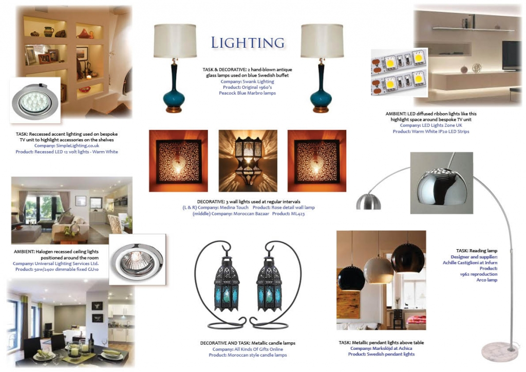 There are 3 common types of lighting: Ambient lighting - general lighting either natural or artificial. Task lighting - used for function or to highlight an object or area of a room. Decorative - more aesthetic but can also be functional. Consider using all 3 for flexibility at different times of the day.
