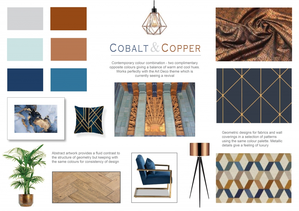 Contemporary colour combination - two complimentary opposite colours giving a balance of warm and cool hues. Works perfectly with the Art Deco style which is currently seeing a revival