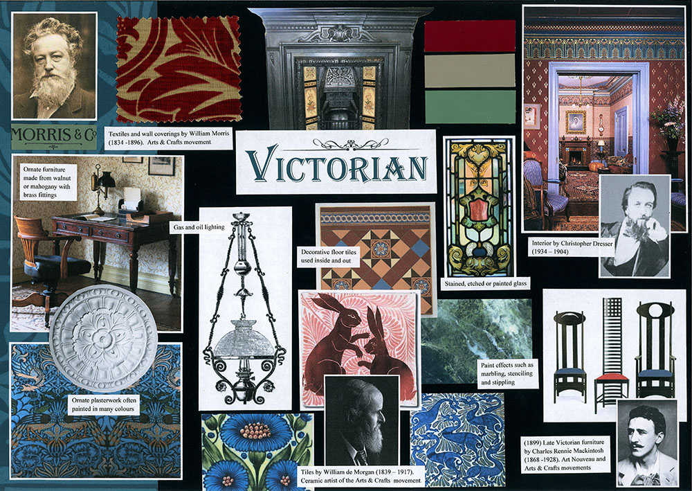The Victorians had very lavish taste, favouring heavily patterned fabrics, stained glass, paint effects and rich colours. Later, the Arts & Craft movement created more simple, hand-crafted home furnishings. Victorian is a style that is still a firm favourite and has been hugely influential to designers over the years.