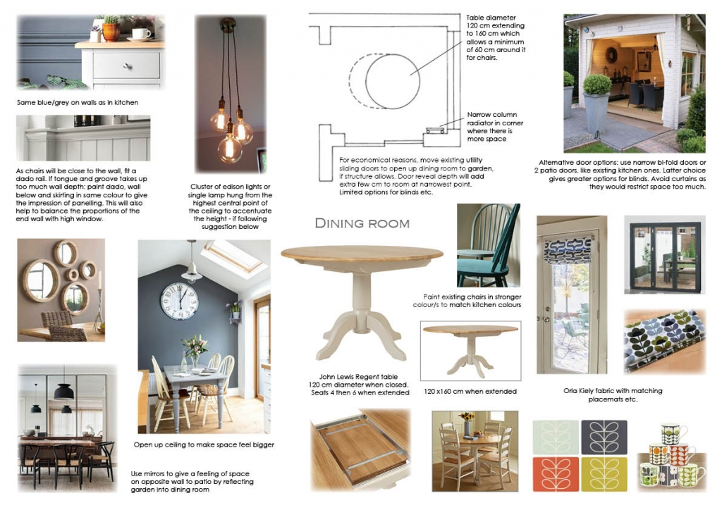 Room 3 of 3 - option 2. An informal dining room with access to the patio and garden were requested. As the room was small, I suggested raising the ceiling and using long flex lighting and plenty of feature mirrors to enhance the feeling of space.