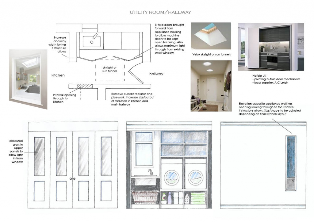 Room 1 of 3. Due to structural restrictions, this corridor to the kitchen and snug beyond, had several issues to overcome. Light was enhanced by inserting a skylight, aperture through to the kitchen and obscured glass to the bi-fold screen doors allowing natural light in from the window behind.